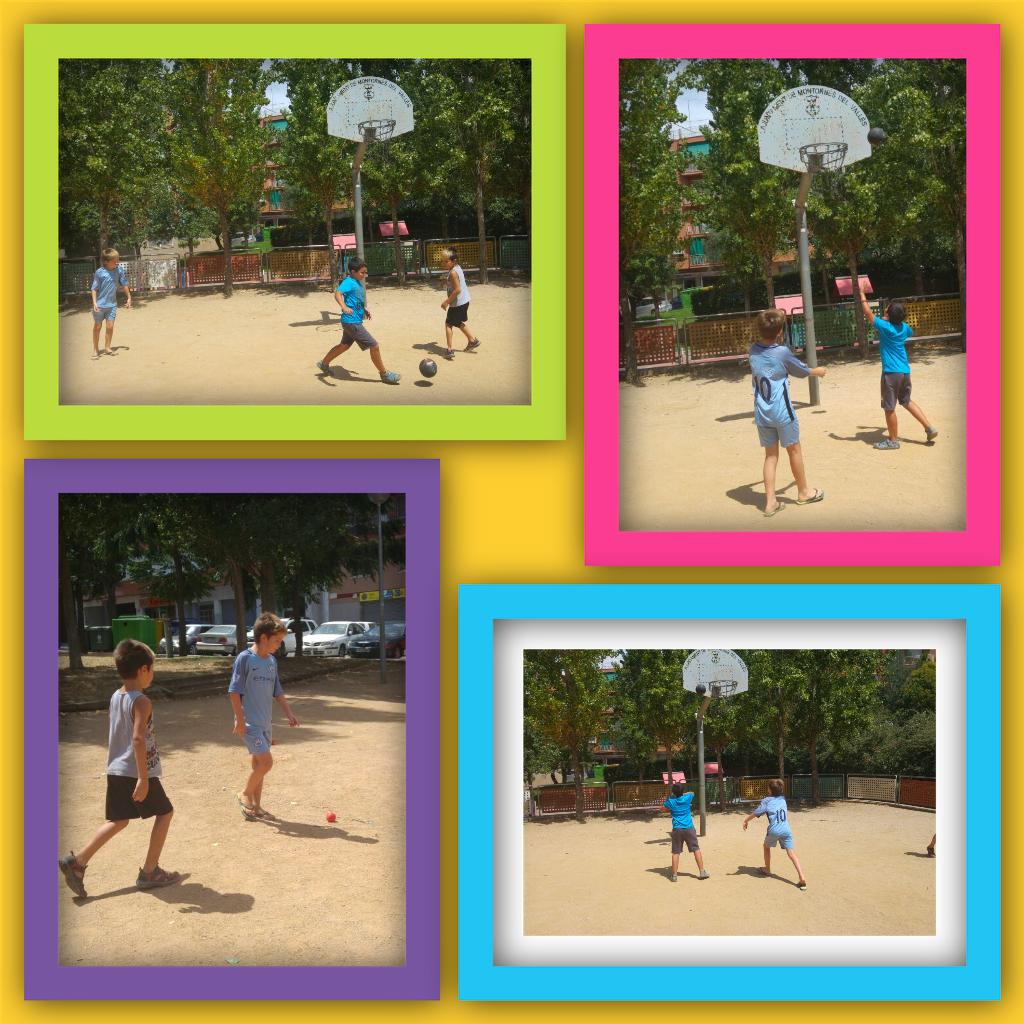 Jugando a diferentes deportes en el exterior en Espai Estiu de Psico-Montornès.
