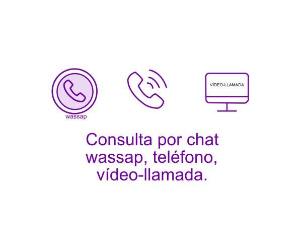 Consulta por chat wassap, teléfono, vídeollamada.