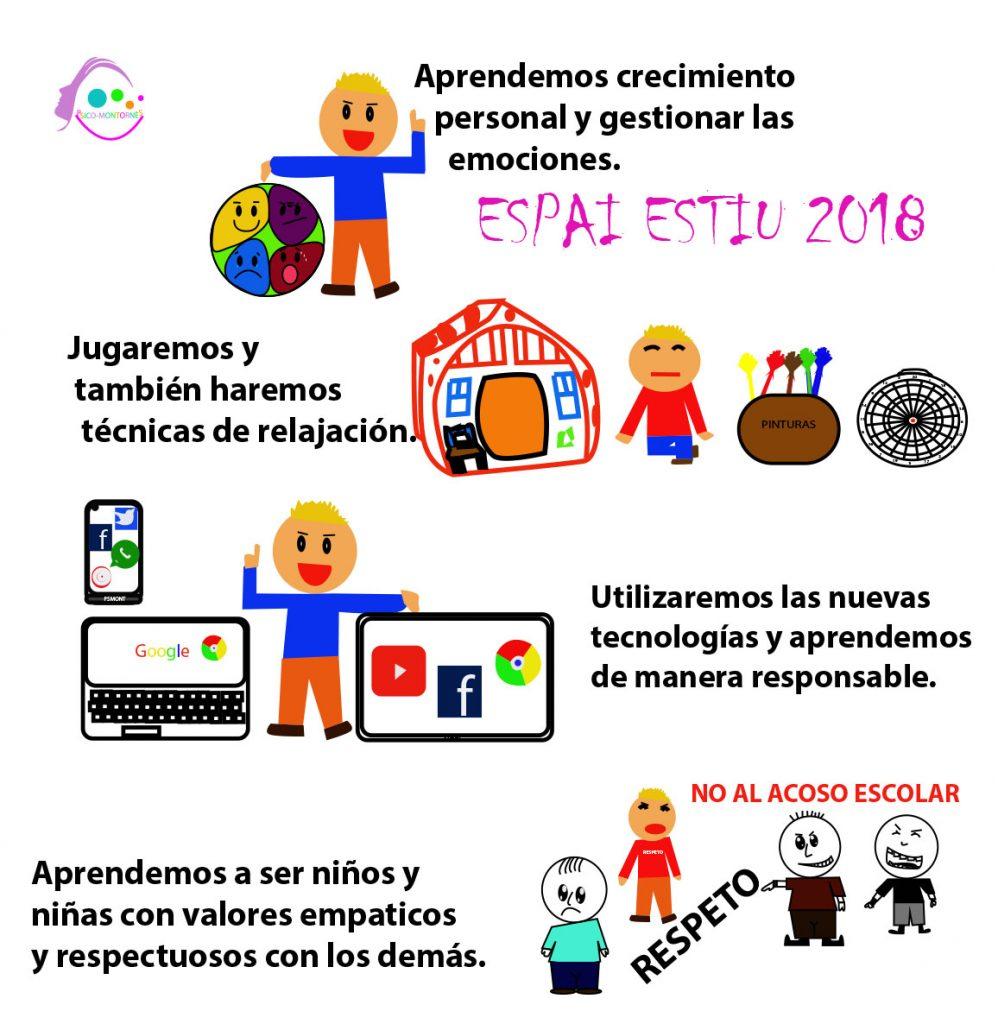 Cartel actividades Espai Estiu, aprendemos a ser niños felices y responsables.